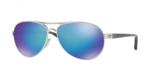 Oakley Women's Metal Polished Chrome Prizm Sapphire Polarized Aviator Sunglasses - Blue
