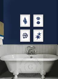 Coral Colored Decorative Items by Coastal Wall Decor Navy Blue Wall Art Set Of 4 Beach Decor