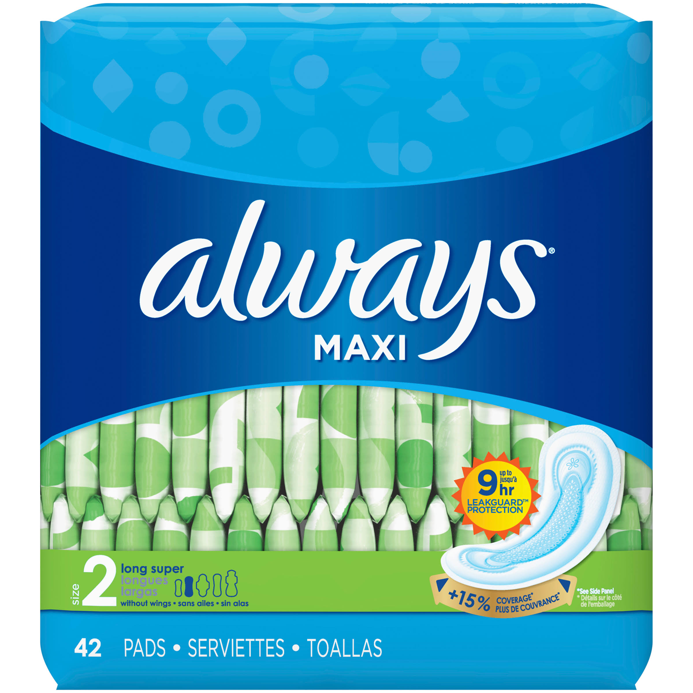 Always Maxi Pads Without Wings - 42 Pads, Long Super