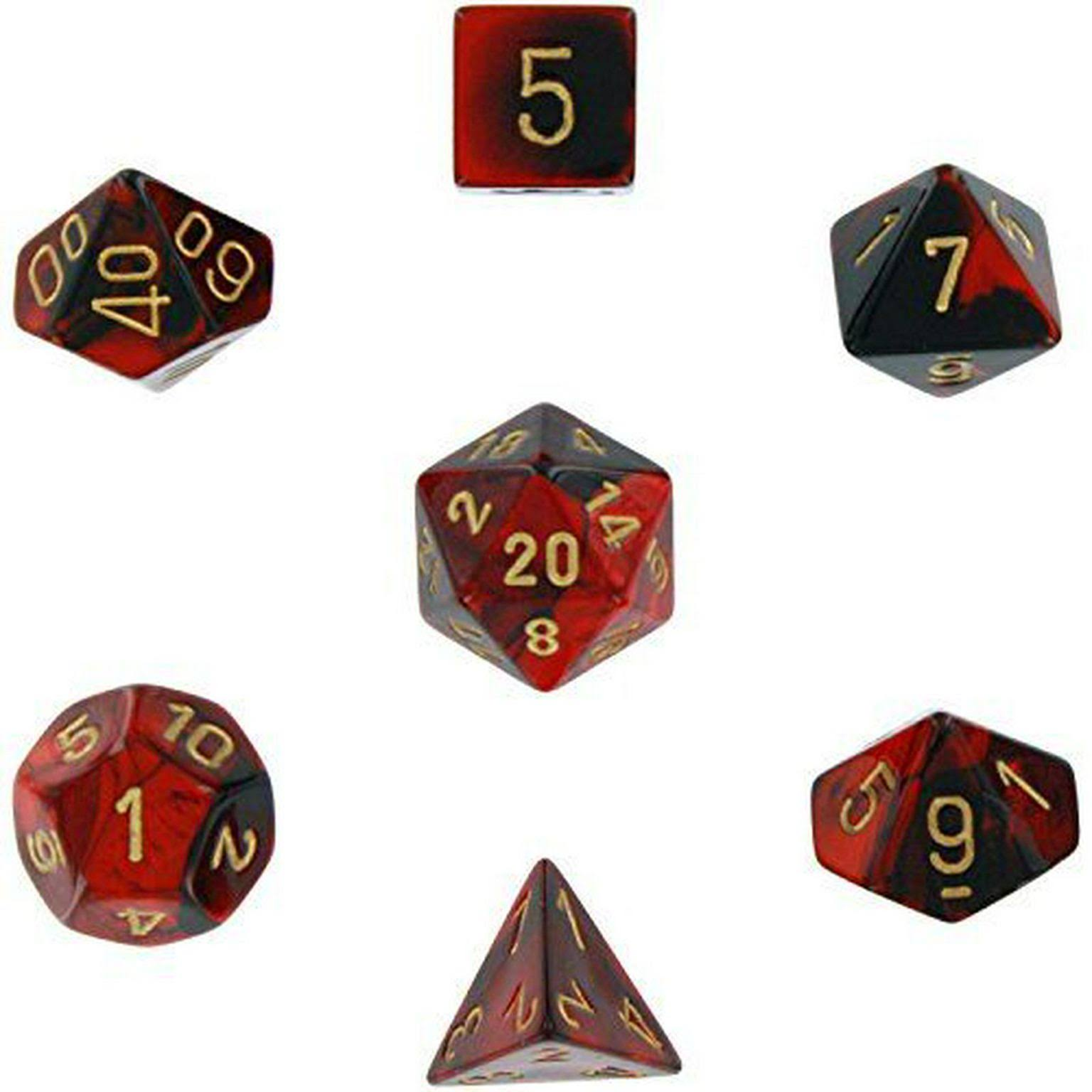 Chessex Gemini Polyhedral 7 Dice Set - Black & Red W Gold Numbers