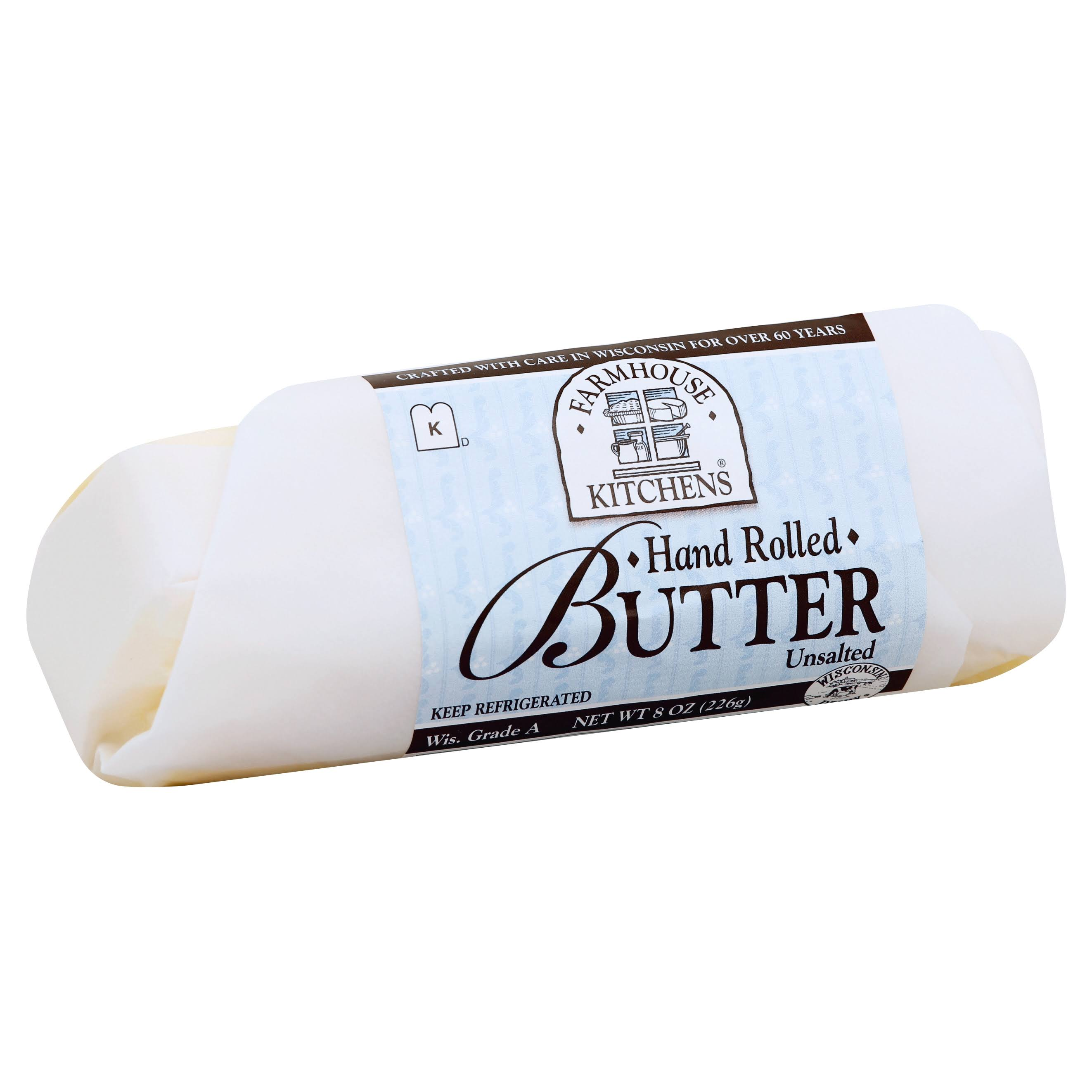 Farmhouse Kitchens Butter, Hand Rolled, Unsalted - 8 oz