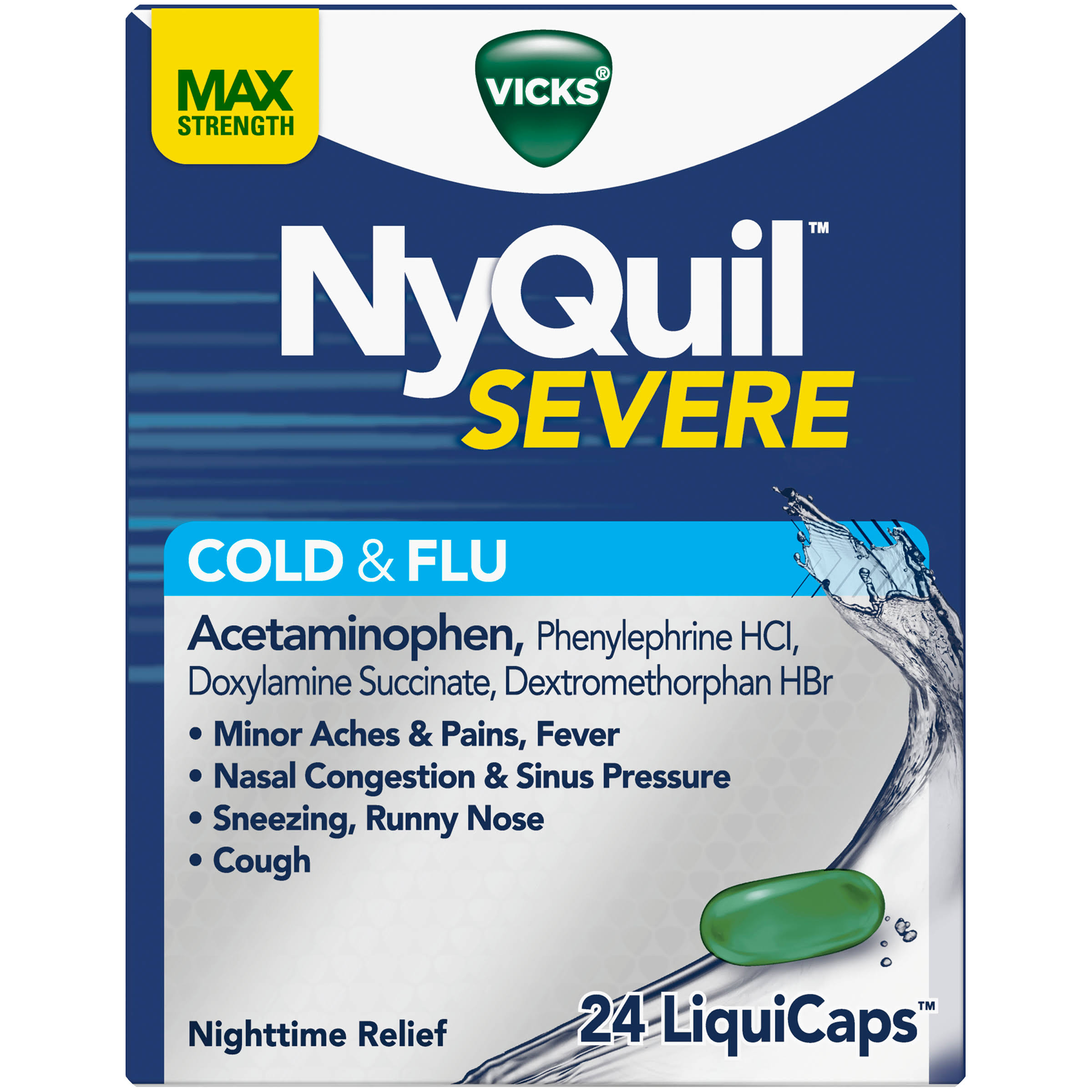 Nyquil Cold & Flu, Severe, Non-Drowsy, Max Strength, LiquiCaps - 24 liquicaps