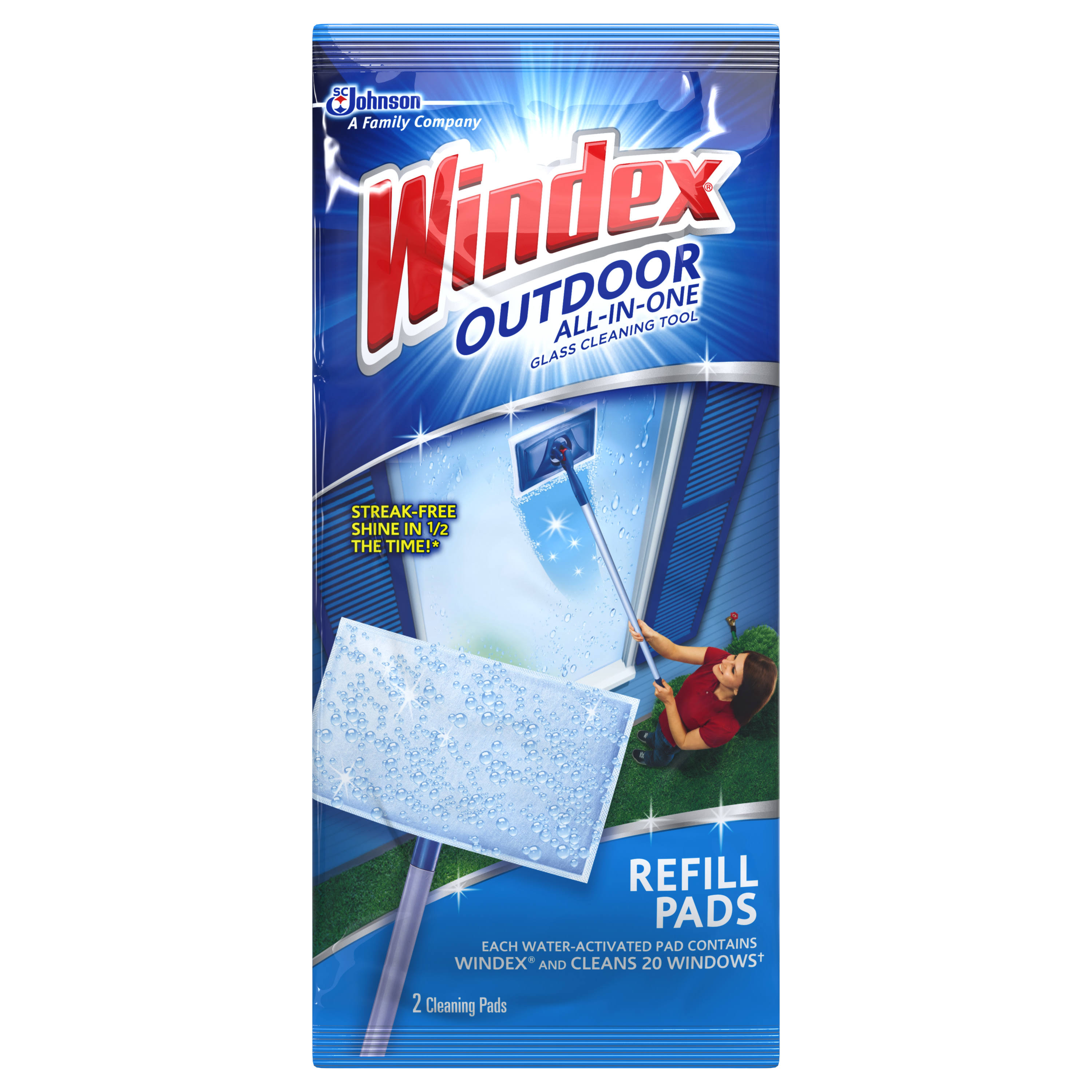 SC Johnson Windex Outdoor All-in-One Glass Cleaning Tool Refill Pads - 2pk