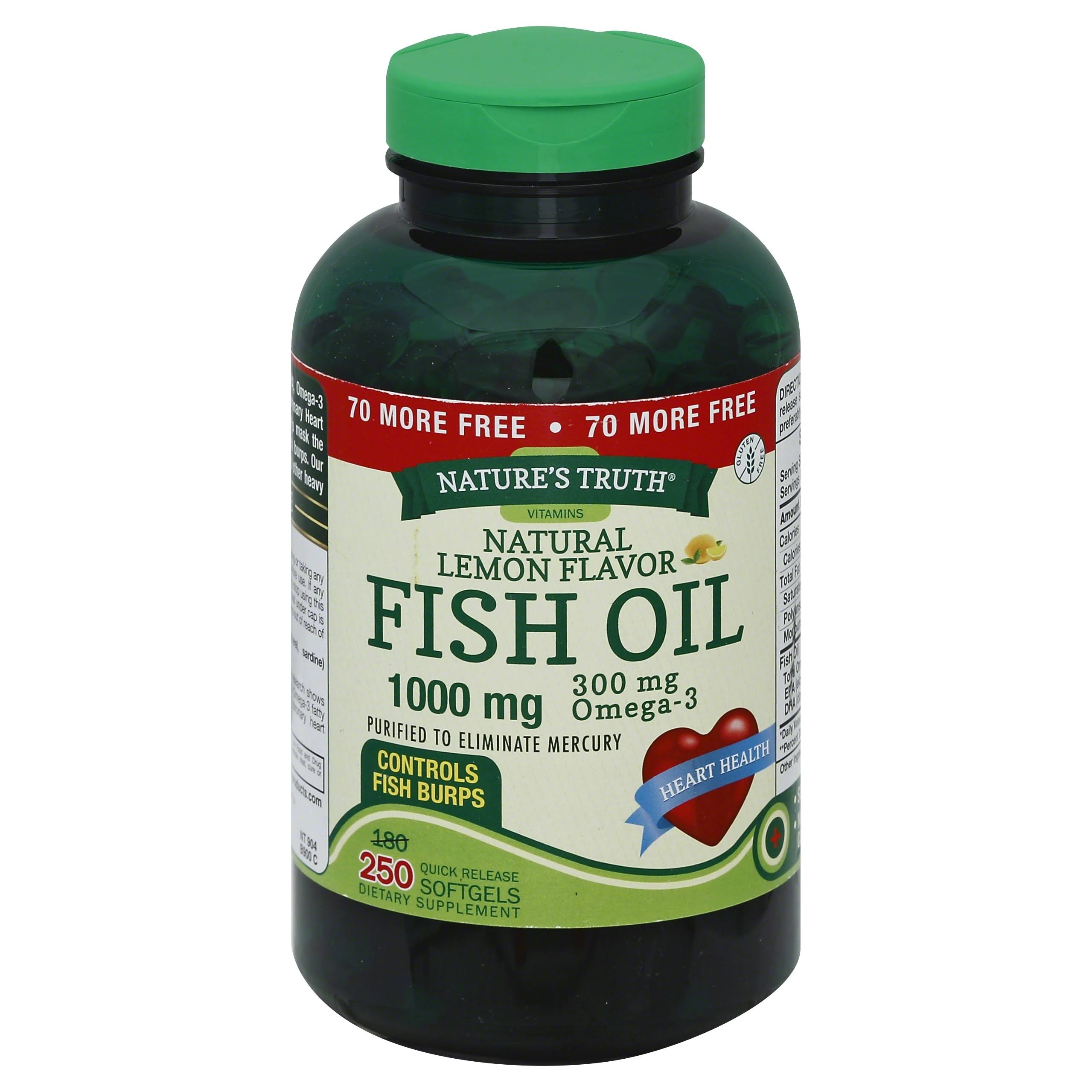 Nature's Truth 1000 Mg Omega 3 Fish Oil Softgels - 250ct, Lemon Flavor