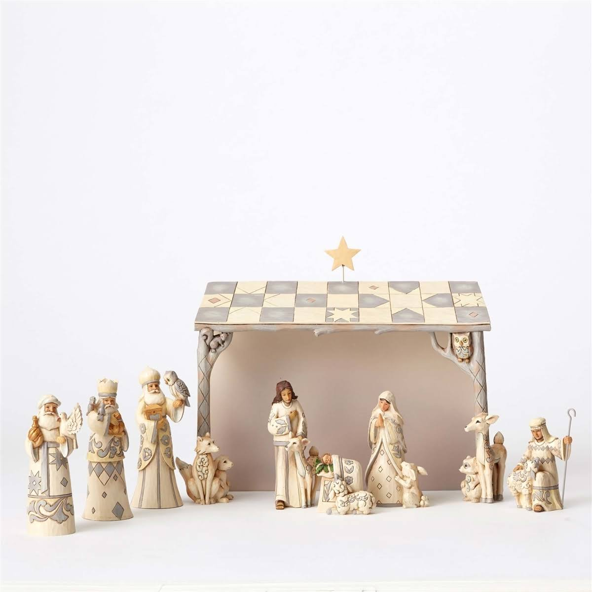 Jim Shore White Woodland 8 PC Nativity 4053690