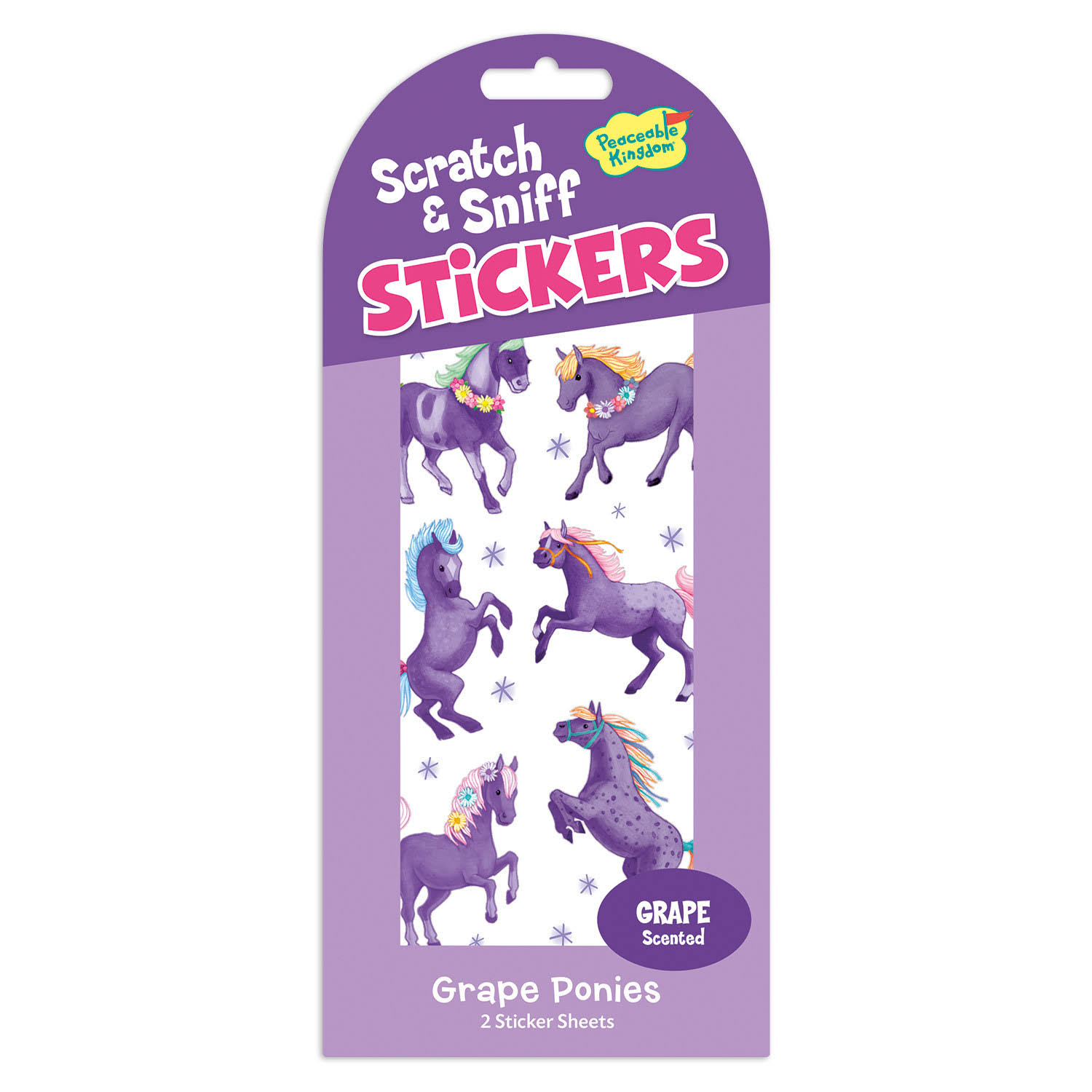 Peaceable Kingdom Scratch & Sniff Stickers Grape Ponies Stickers