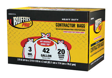 Berry Plastics 618898 Ruffies Pro Contractor Clean Up Bags - 42gal