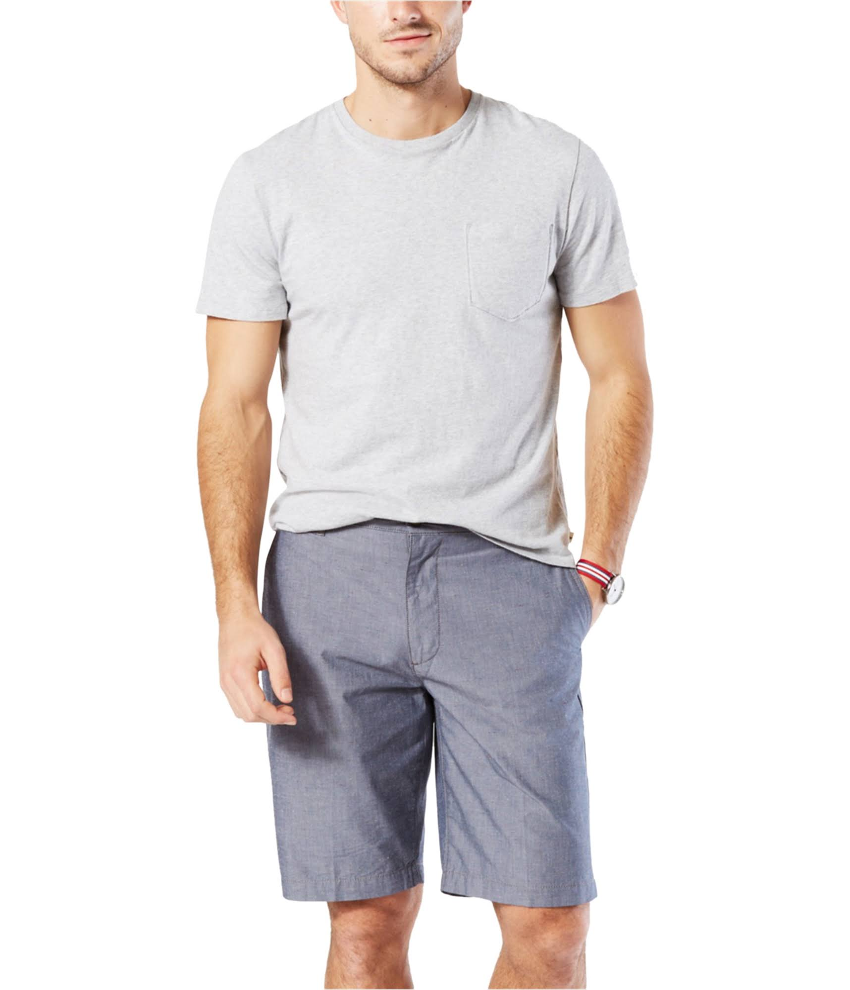 Dockers Mens Perfect Chambray Shorts, Size: 36, Blue