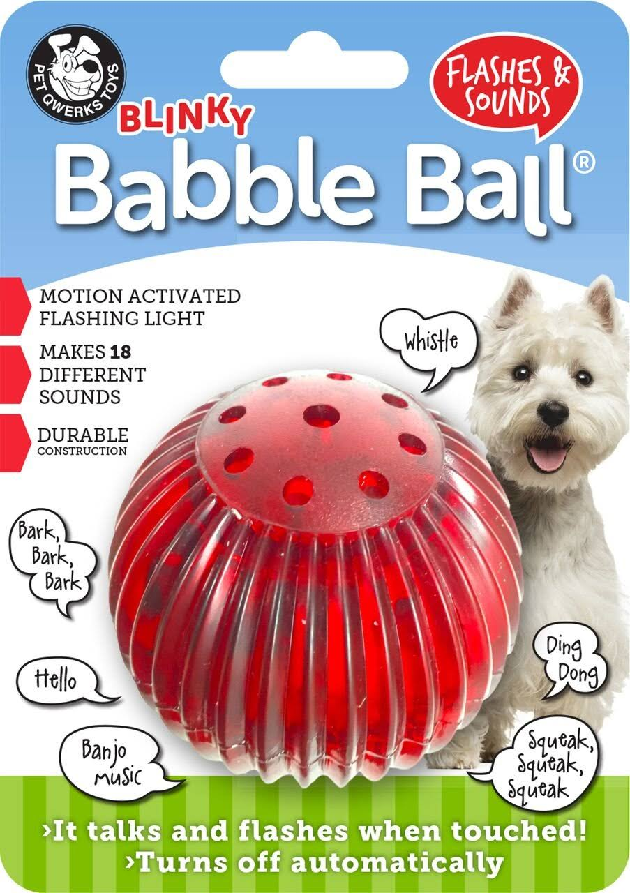 Pet Qwerks Medium Blinkey Babble Ball Flashes & Sounds Toy For Dogs