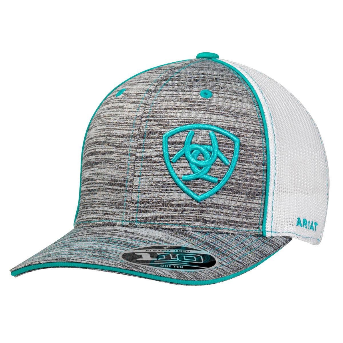 Ariat Men's 6-panel Shield Logo Cap - Grey/Turquoise