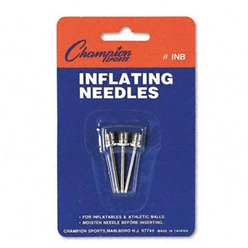 Champion Sports Inflating Needle - Nickel Plated Silver, 3pk