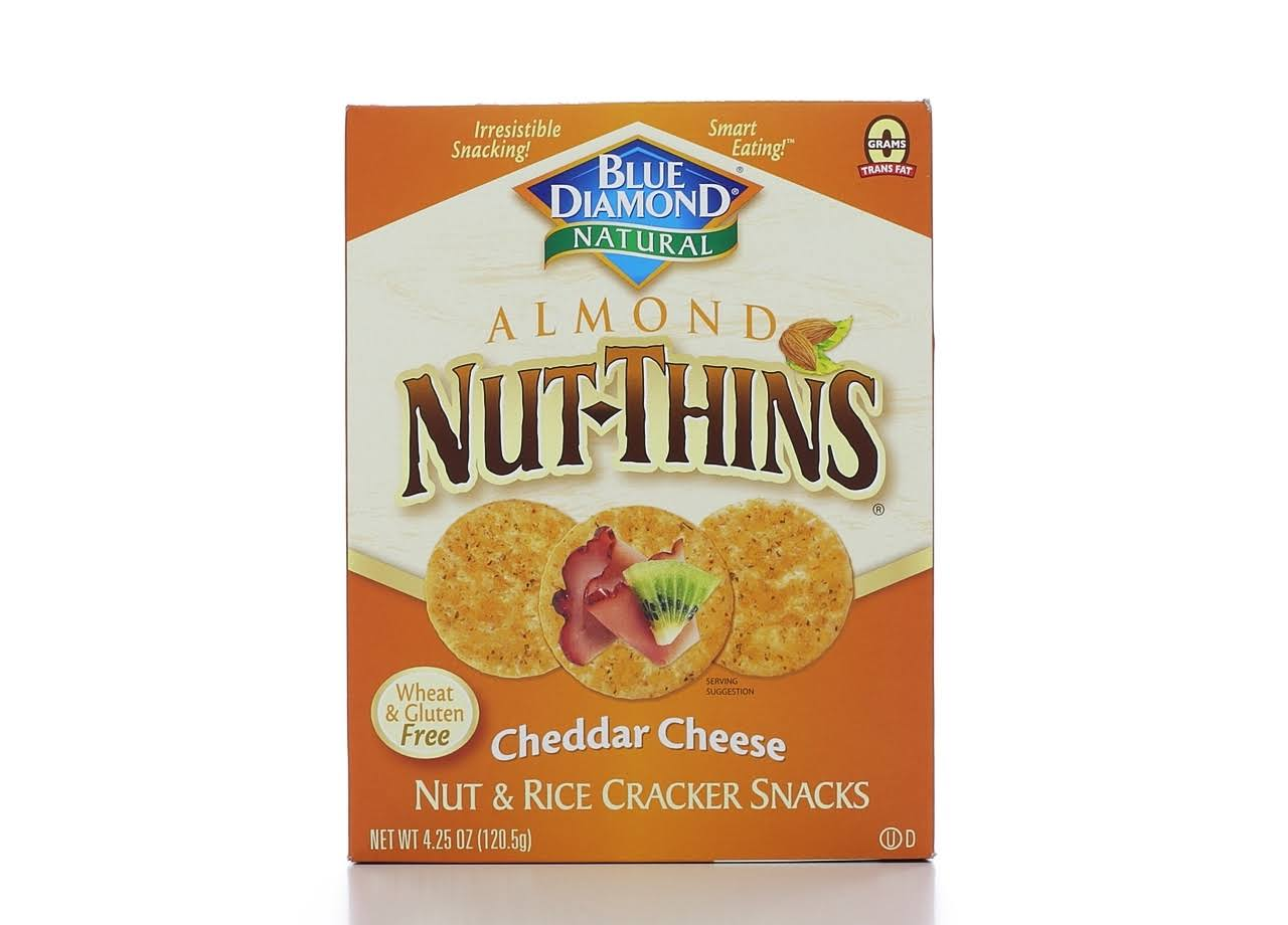Blue Diamond Natural Almond Nut-Thins Nut and Rice Cracker Snacks - Cheddar Cheese