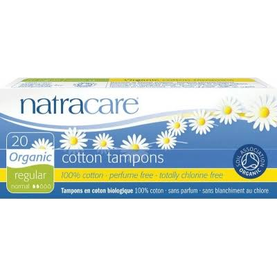 Natracare Organic Regular Cotton Tampons - 20pc
