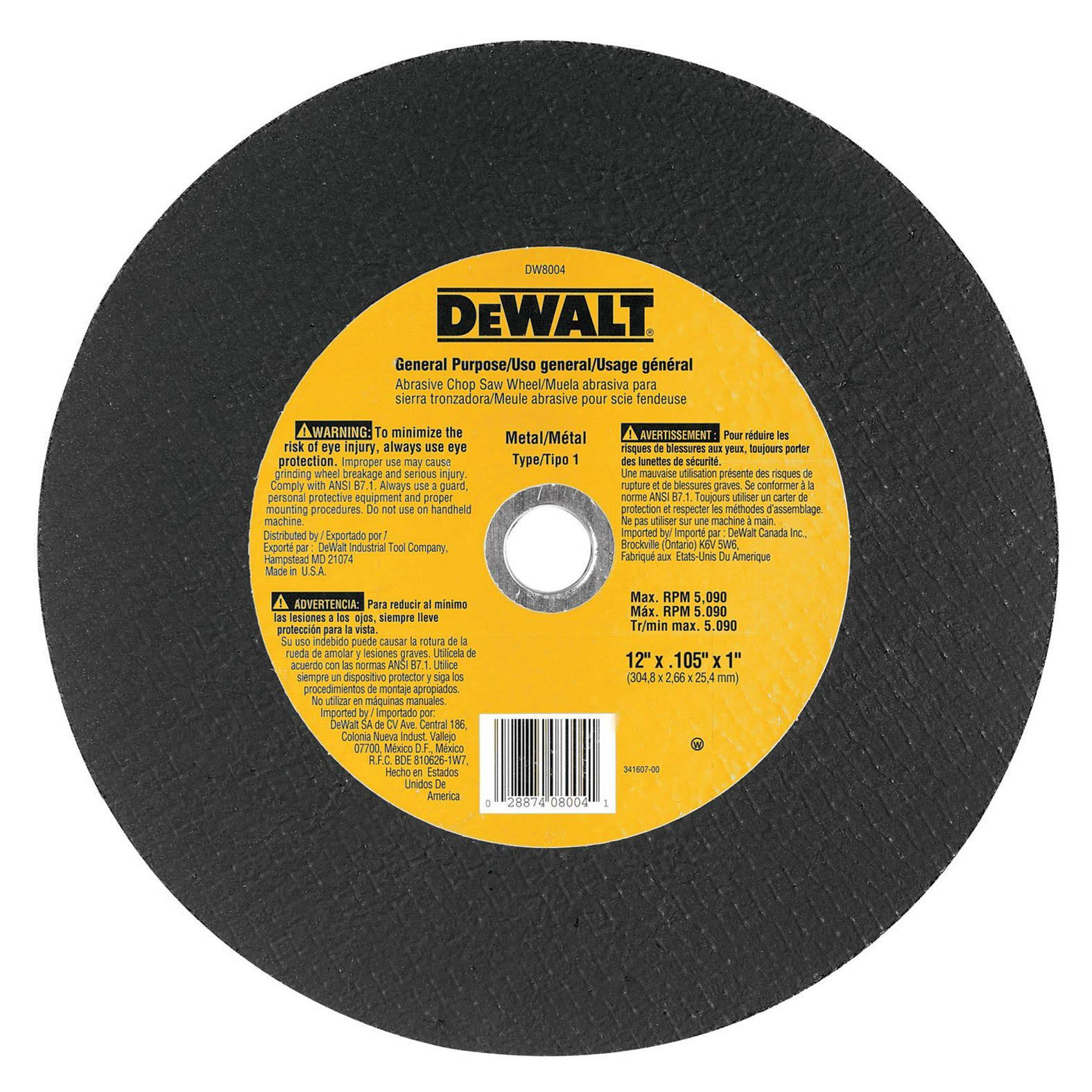 DeWalt Hi-Performance Metal-Cutting Wheel - 4 1/2 x .045 x 7/8""