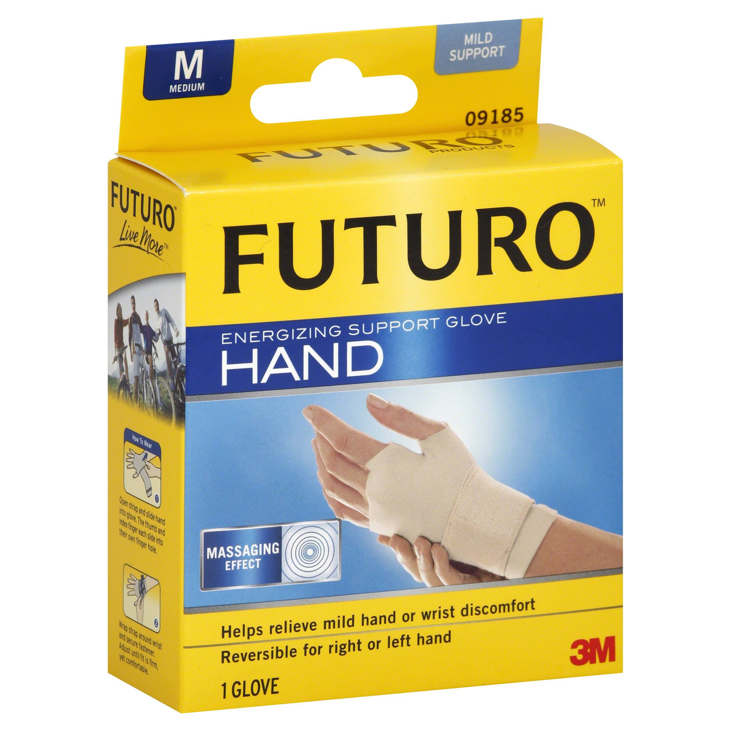 Futuro Hand Support Glove, Energizing, Mild Support, Medium
