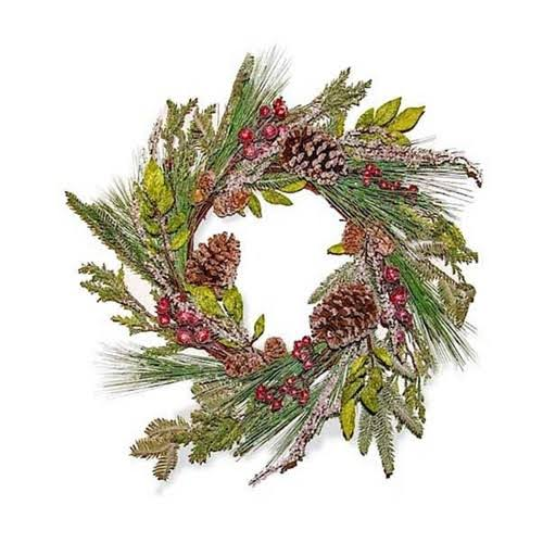 K&K Interiors Needle Wreath with Red Berries Multi