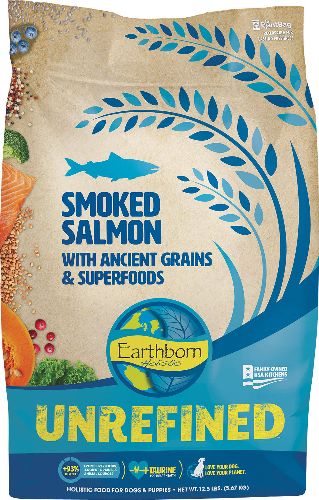 Earthborn Holistic Unrefined Smoked Salmon with Ancient Grains & Superfoods Dry Dog Food, 12.5-lb
