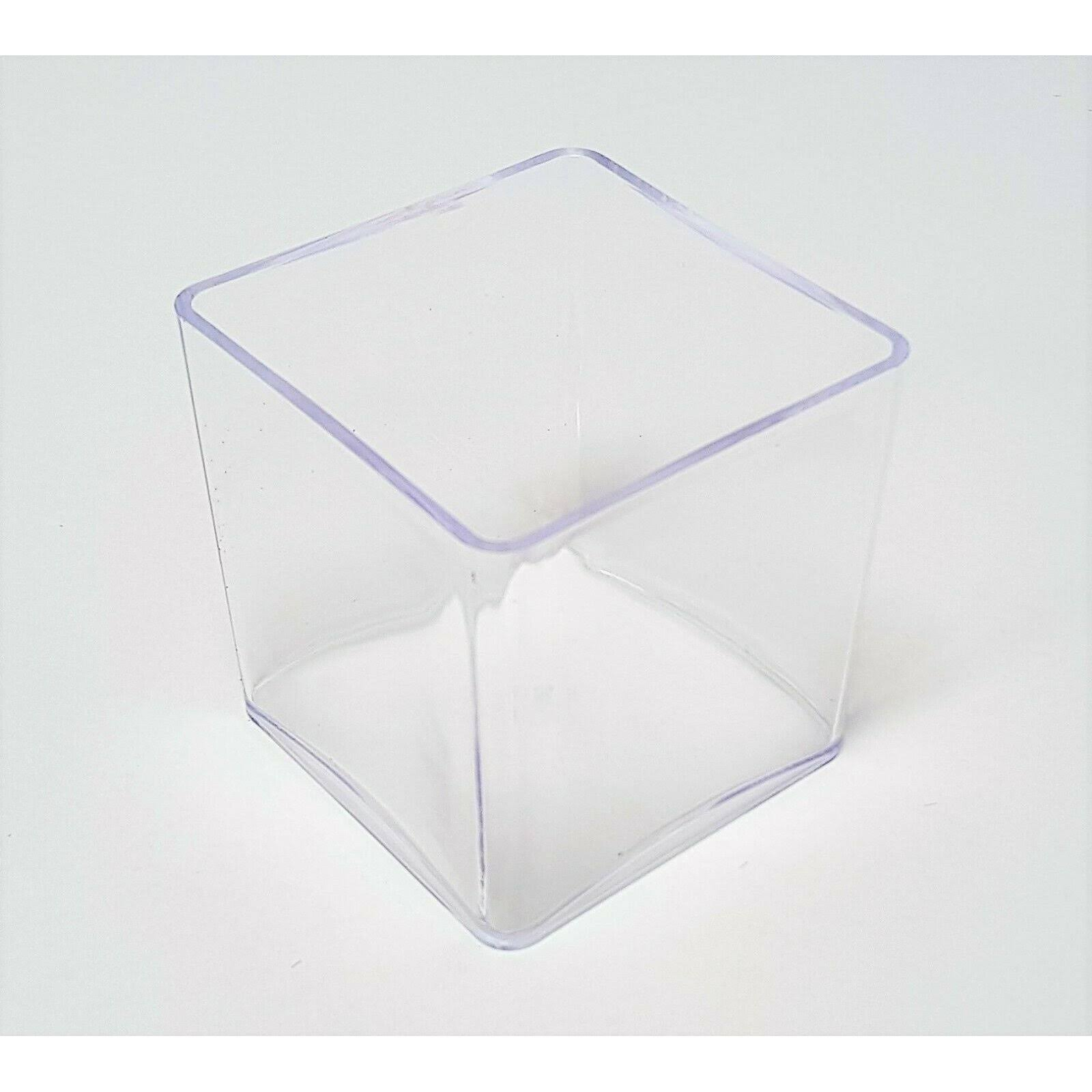 Clear Plastic Cube Planter - 10cm - Square Transparent Plant Pot