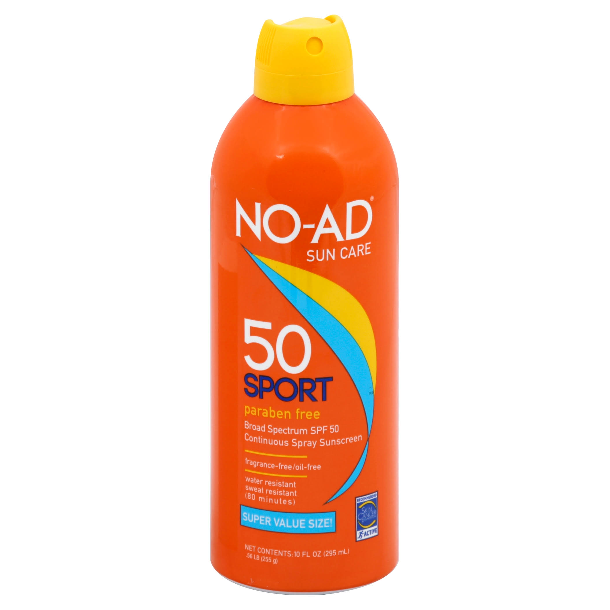 No Ad Sunscreen, Sport, Continuous Spray, Broad Spectrum SPF 50, Super Value Size! - 10 fl oz