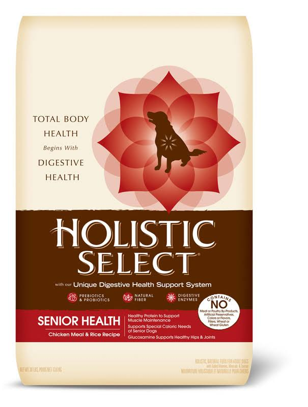 Wellness Holistic Select Senior Health Dry Dog Food - Chicken Meal and Rice Recipe, 30lbs