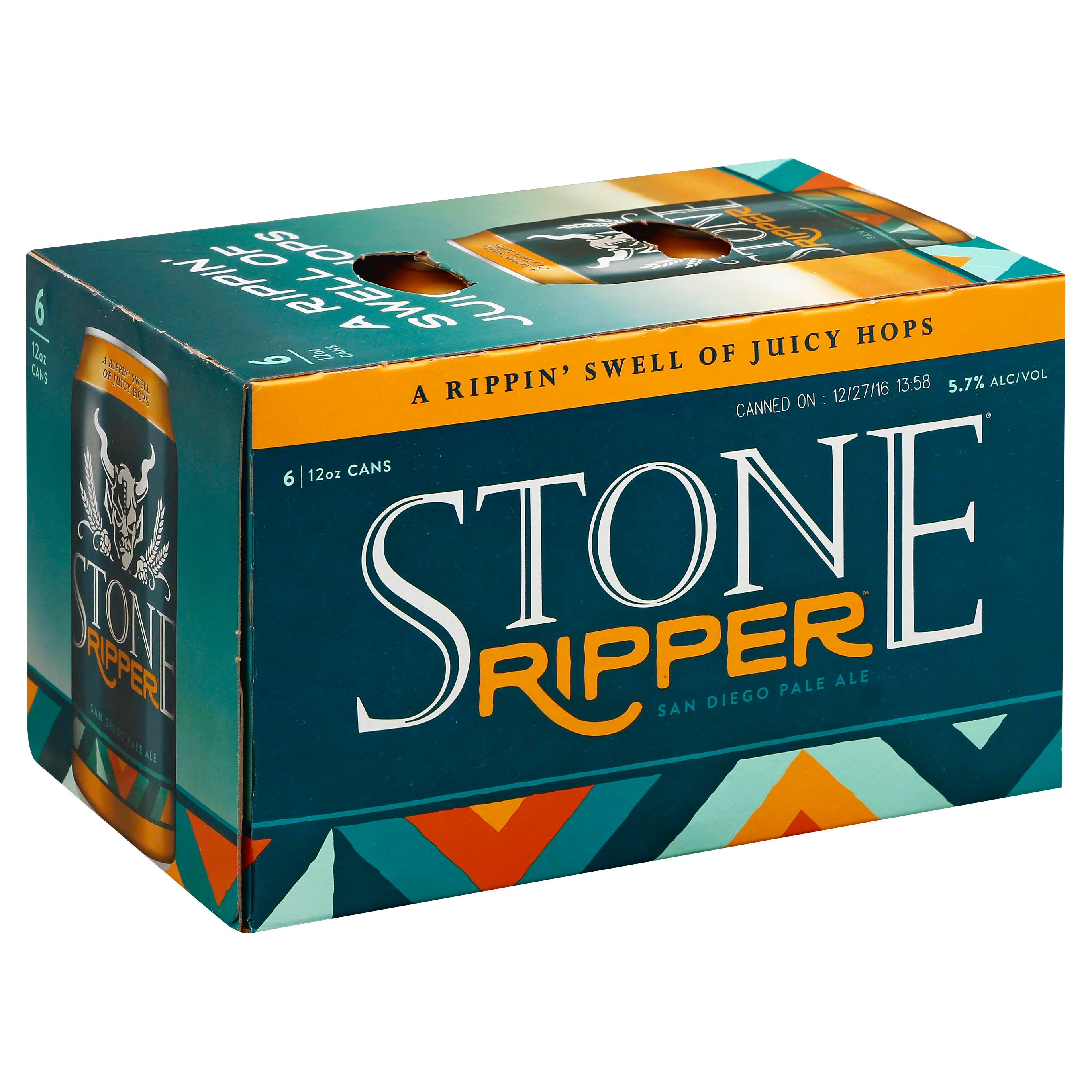 Stone Beer, San Diego Pale Ale, Ripper - 6 pack, 12 fl oz cans
