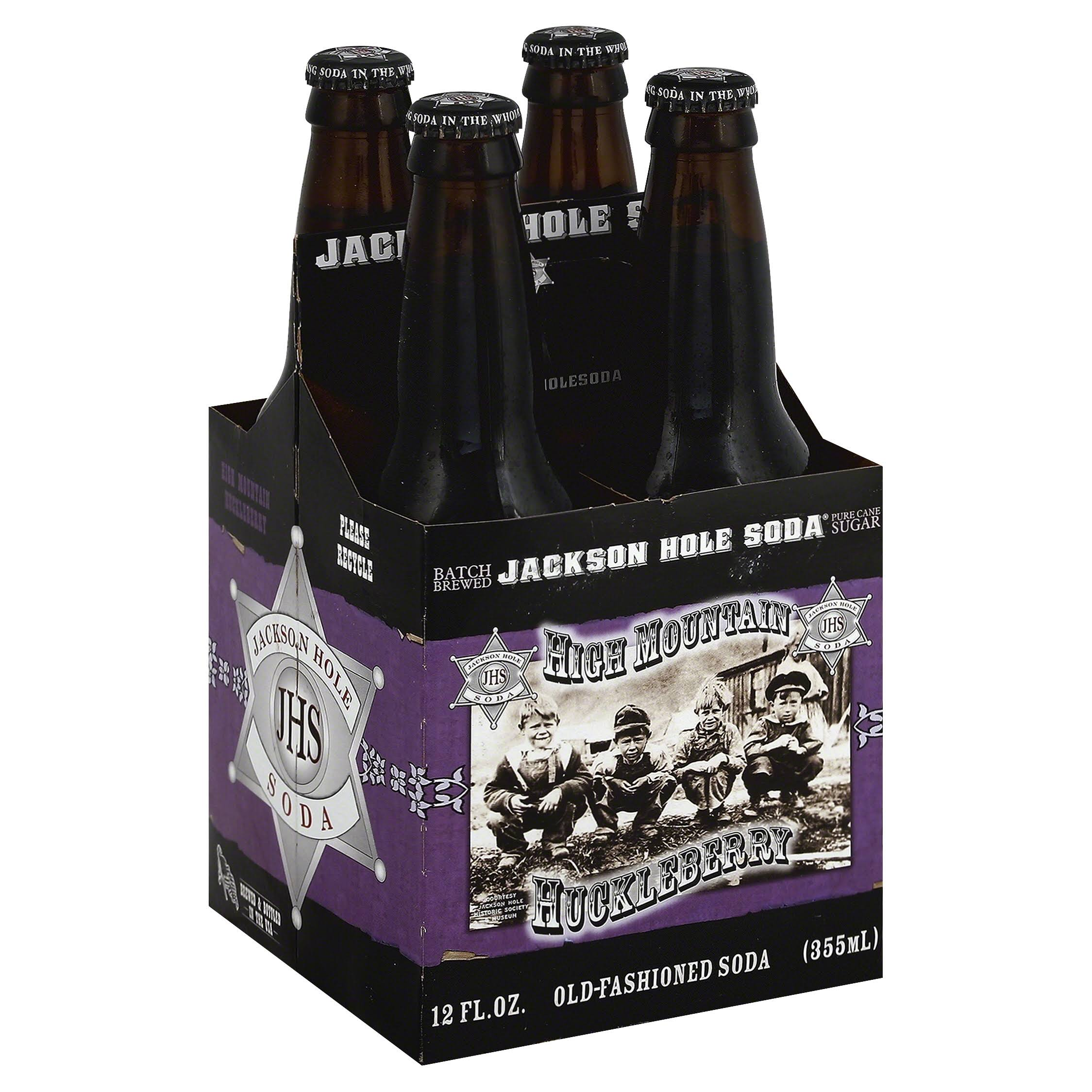 Jackson Hole Soda Soda, Old-Fashioned, High Mountain Huckleberry - 4 pack, 12 fl oz bottles