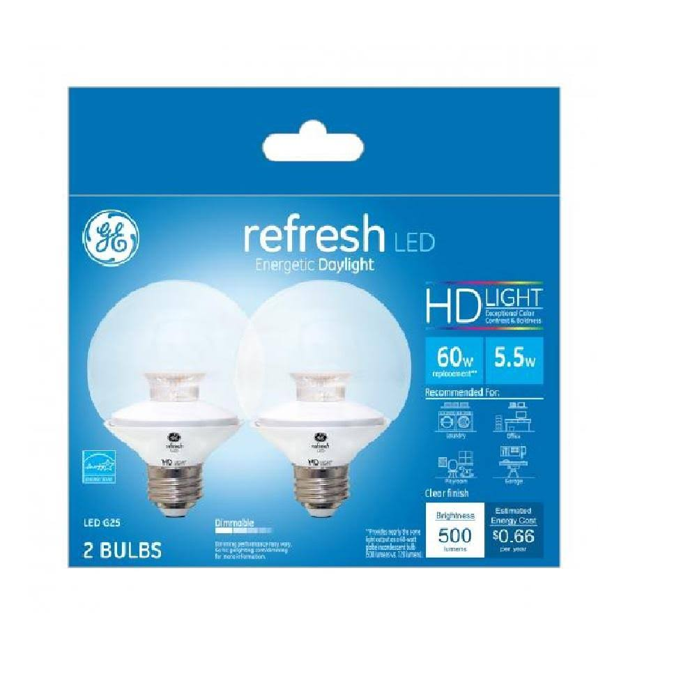 GE 31705 G25 Refresh HD LED Light Bulbs, 5.5 Watts