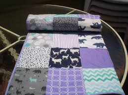Lavender And Grey Bedding by Handmade Baby Quilt Baby Quilt Beddingdeer Crib