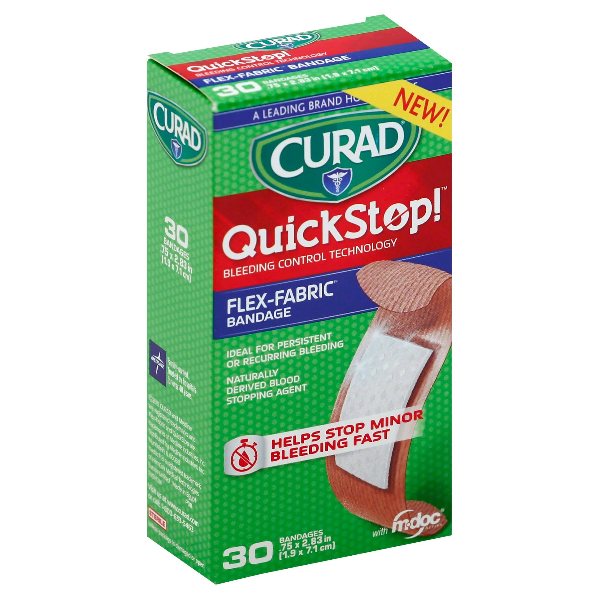 Curad QuickStop Flex Fabric Bandages - 30 Pack