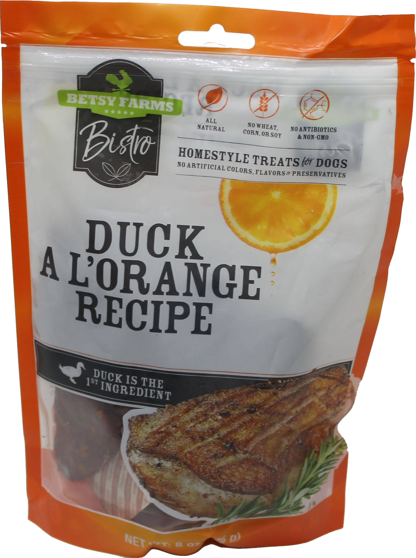 Betsy Farms Bistro Treat for Dogs, Duck a L'Orange Recipe Recipe, Homestyle - 8 oz