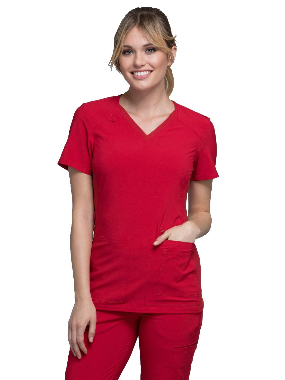 Cherokee CK605 V-Neck Knit Panel Top - Red - S