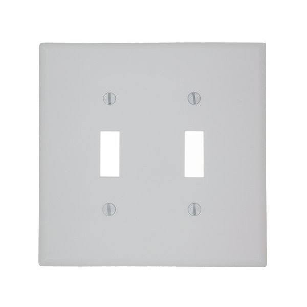 Leviton Manufacturing Toggle Switch Wall Plate - White, 2 Gang