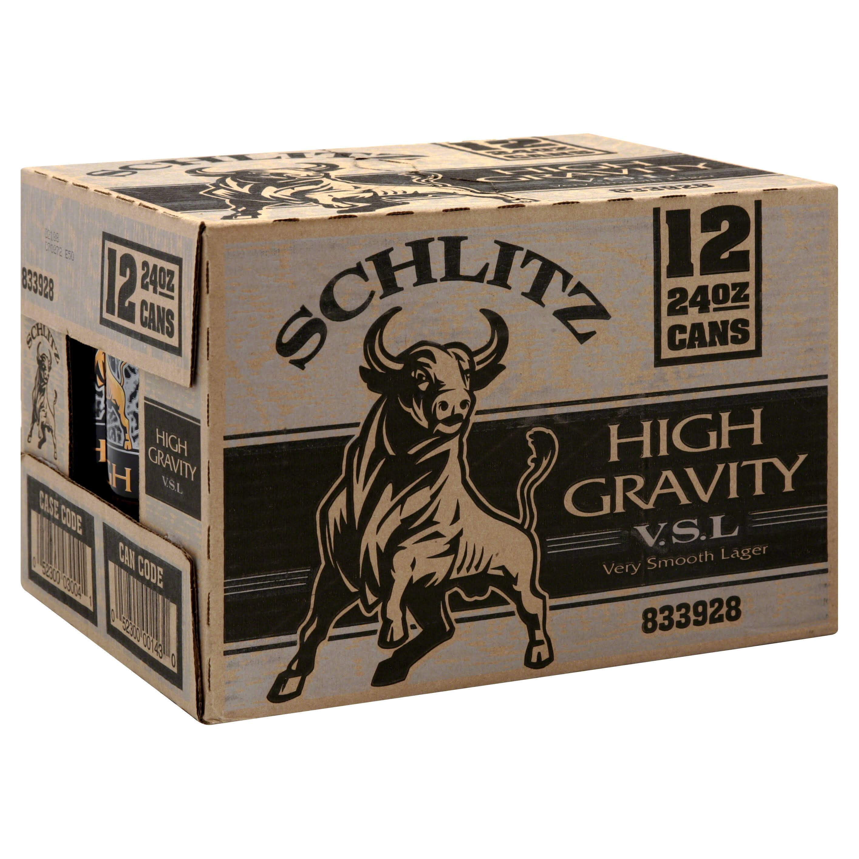 Schlitz High Gravity V.S.L Lager - 12 pack, 24 fl oz cans