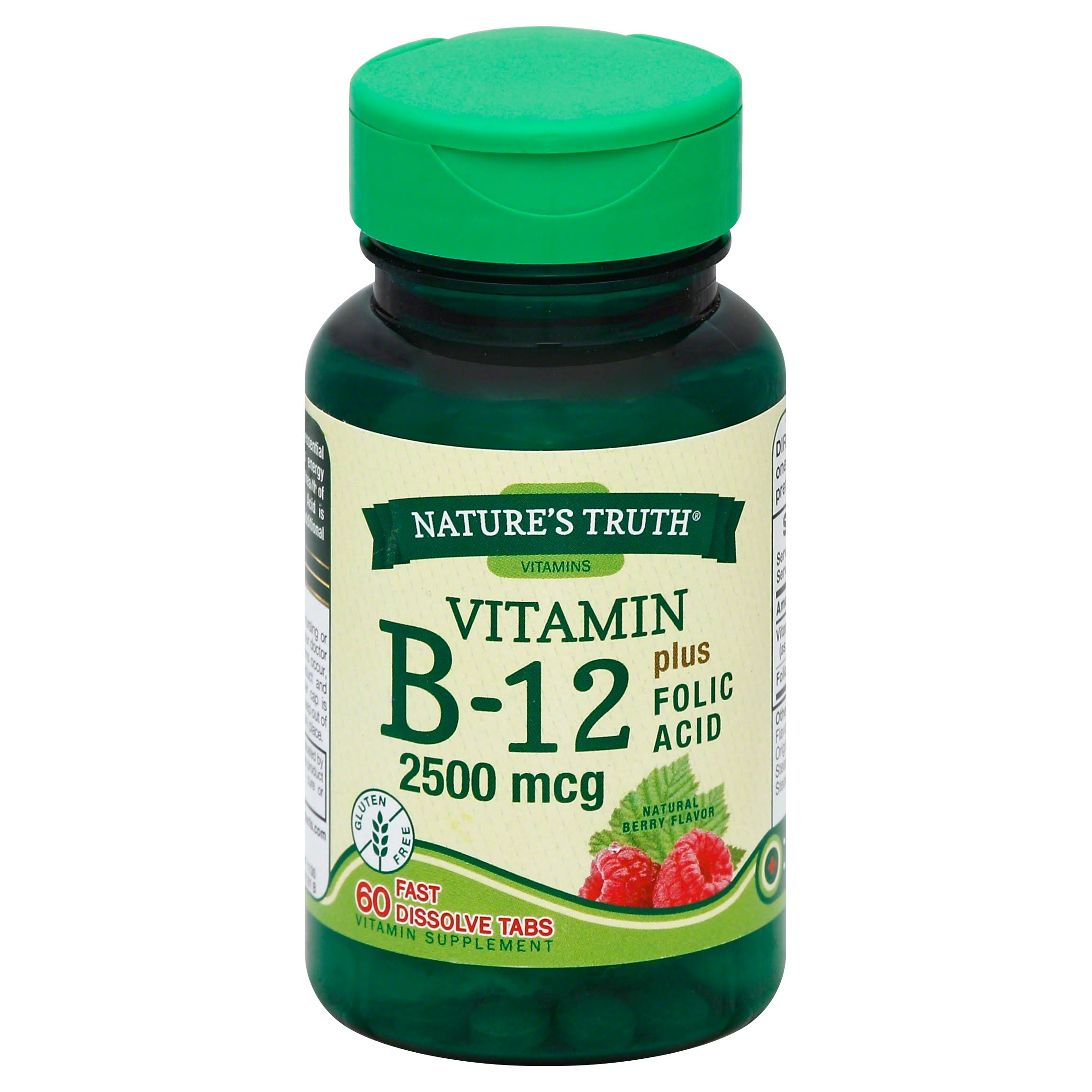 Nature's Truth 2500mcg Vitamin B-12 Plus Folic Acid - Berry Flavour, 60 Tabs