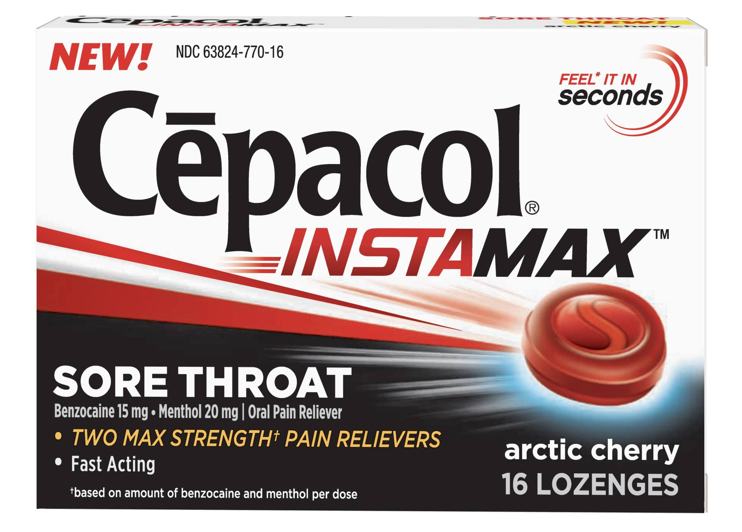 Cepacol Instamax Sore Throat & Cough Drop Lozenges Artic Cherry