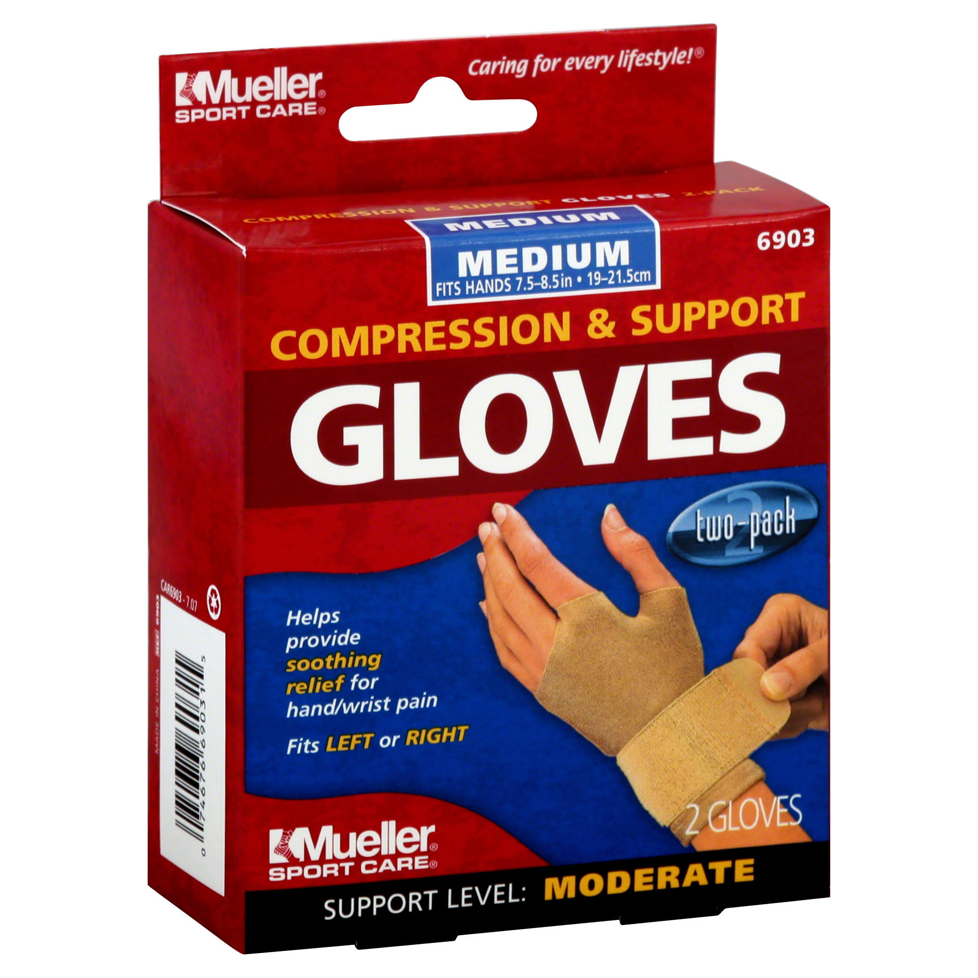 "Mueller 6903 Compression and Support Gloves - Medium (7.5-8.5""), x2"