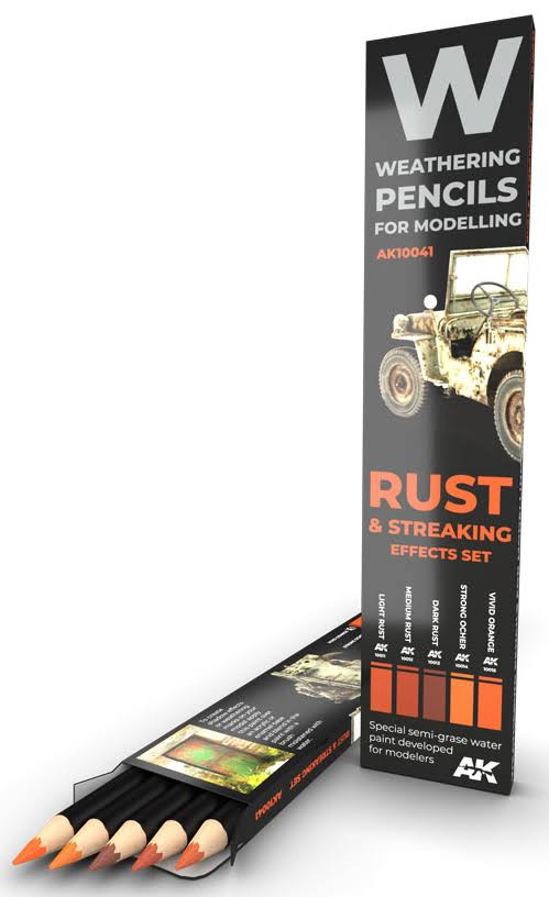 AK Interactive Pencils Set - Rust and Streaking