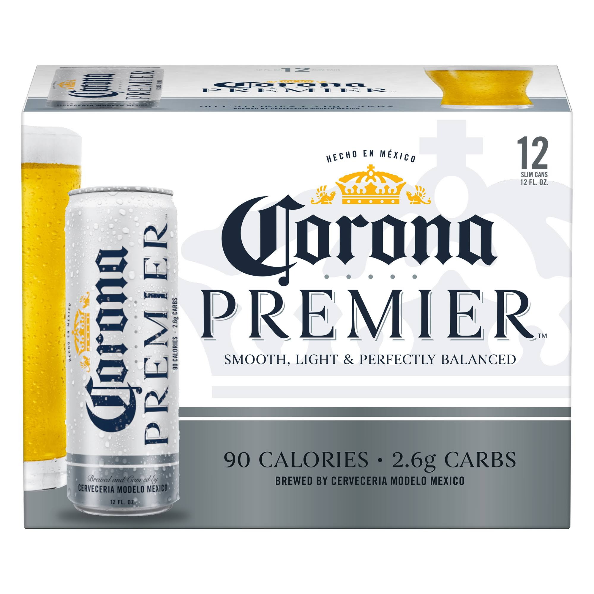 Corona Premier Beer - 12 pack, 12 fl oz slim cans
