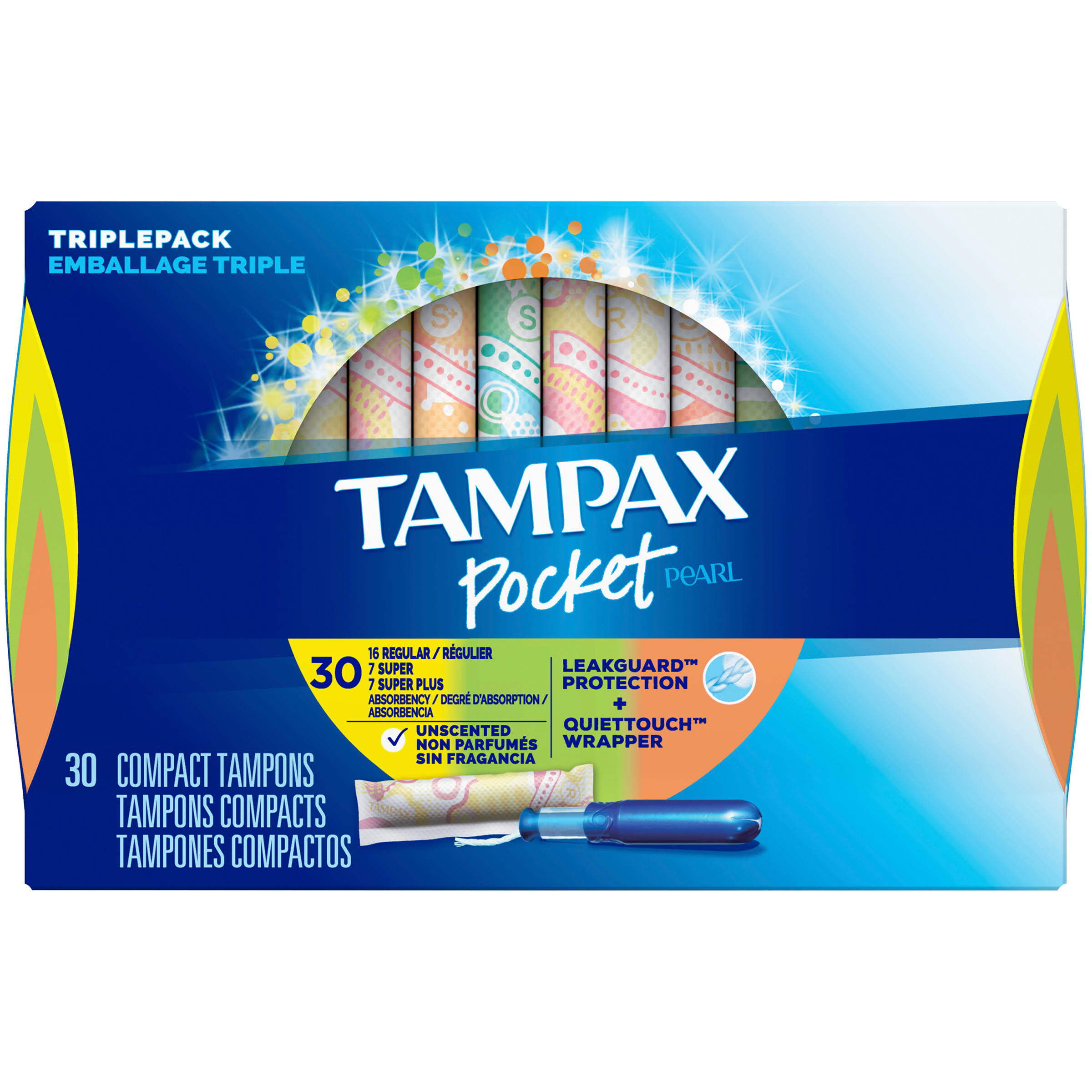 Tampax Pocket Pearl Tampons - Unscented, 30ct