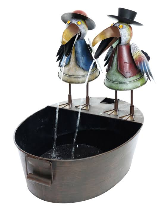 Alpine Metal Crow Duo Fountain