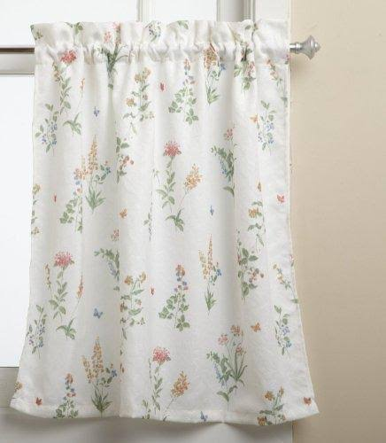 "English Garden Kitchen Curtain, 55""W x 36""L Tier Pair White/Multi"