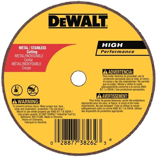 "DeWalt A60T Metal Thin Cut-Off Wheel, Type 1, 4"" x 1/16"" x 5/8"""