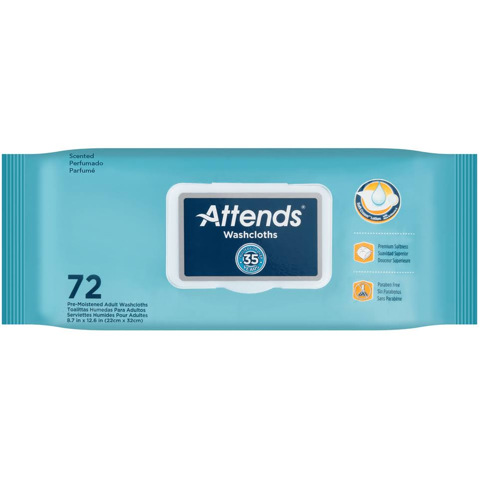 Attends Washcloths Wipes - 72 Wipes
