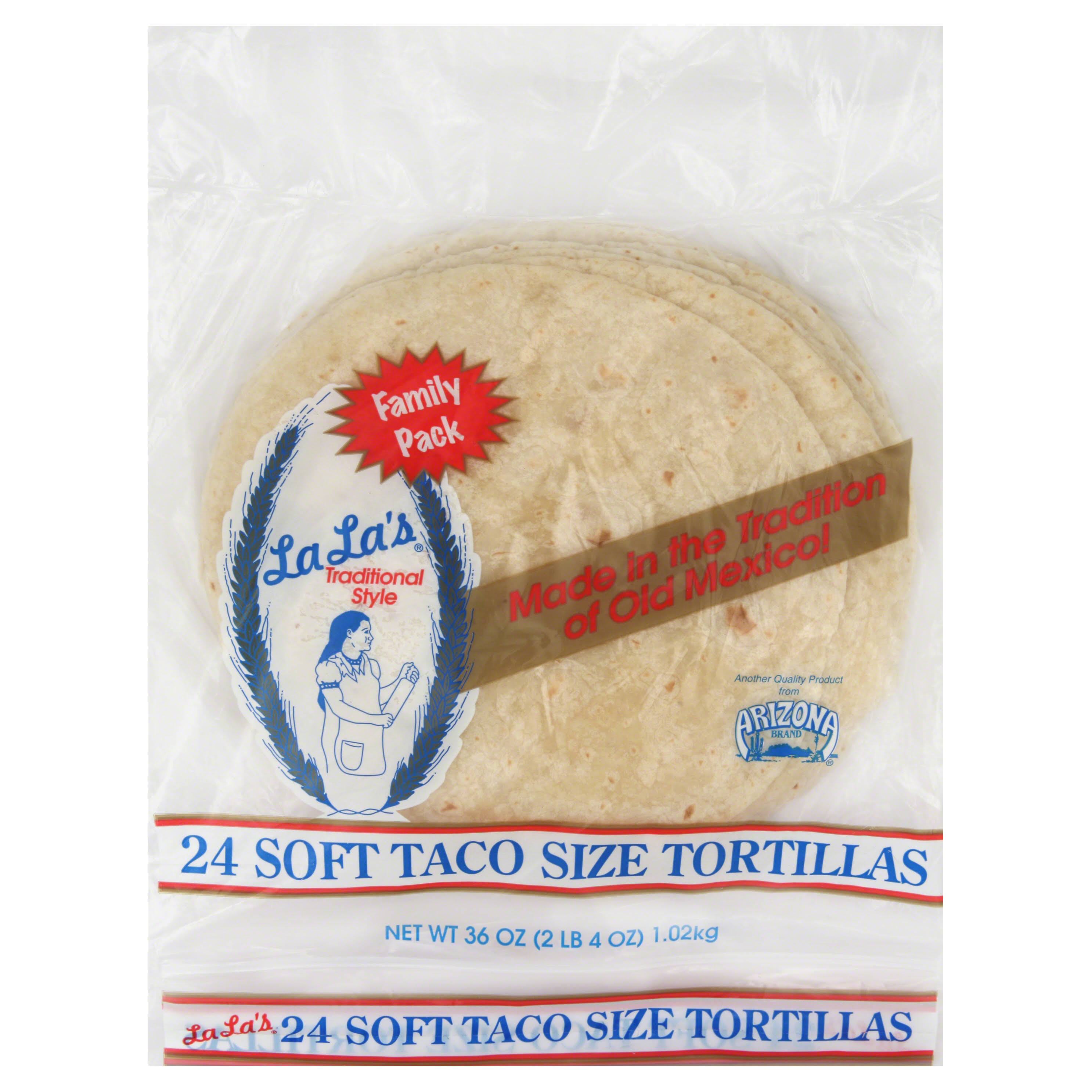 La Las Tortillas, Soft Taco Size, Family Pack - 24 tortillas, 36 oz