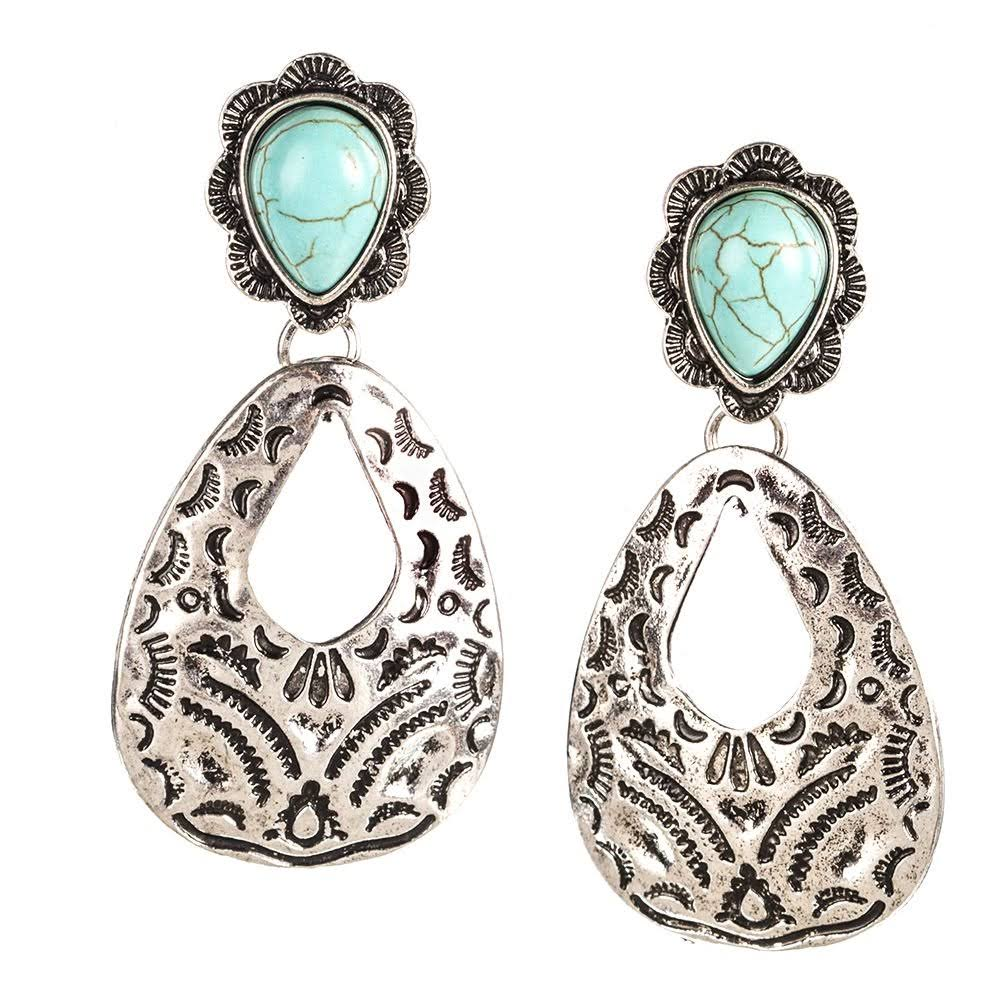 West and Co. Silver Aztec Hammered Earrings (S)