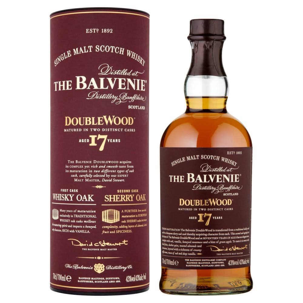 The Balvenie DoubleWood Aged 17 Years Single Malt Scotch Whisky - 700ml