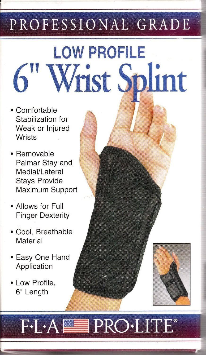 Florida Orthopedics Prolite Low Profile Wrist Splint, Black, Left Medium