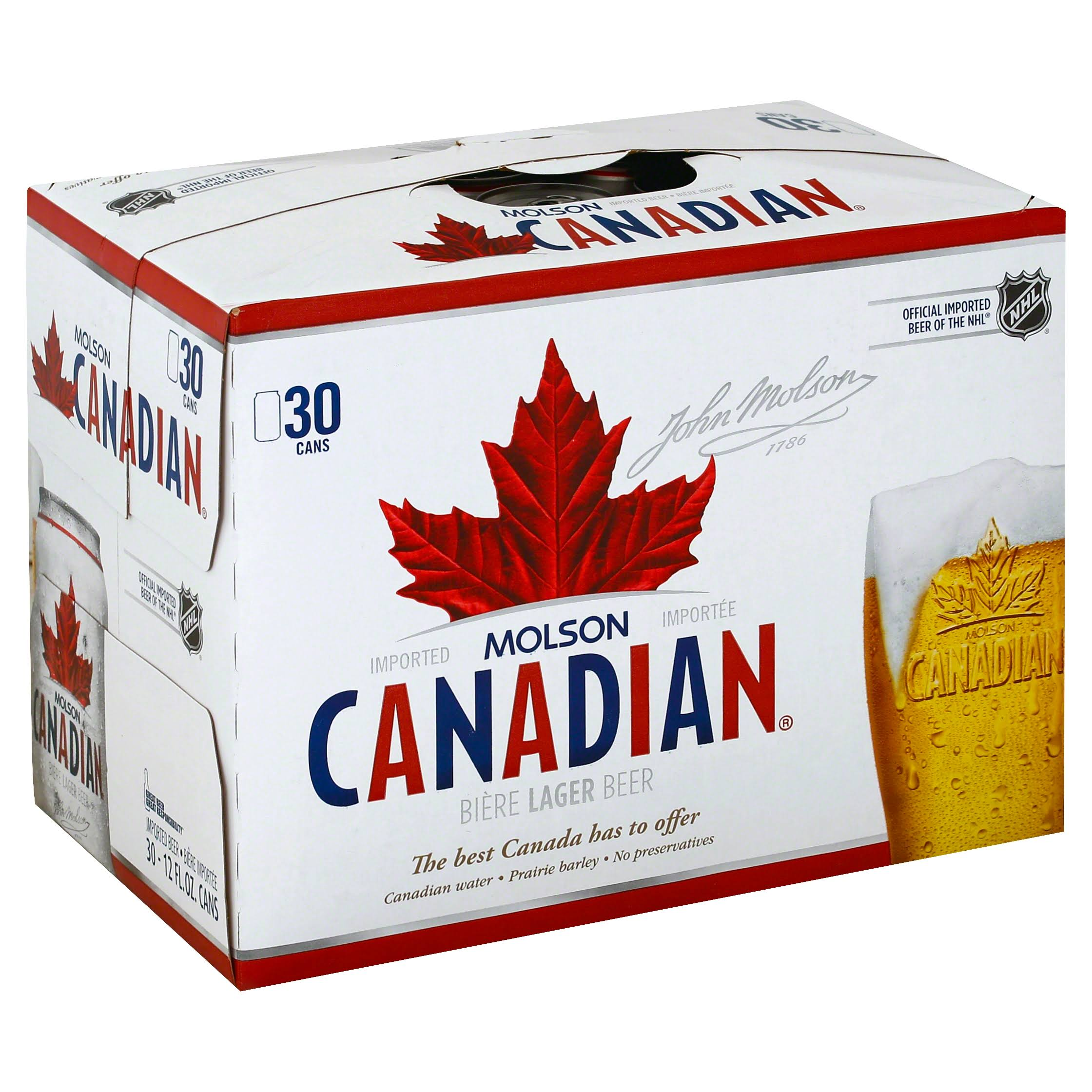 Molson Canadian Beer, Lager - 30 pack, 12 fl oz cans