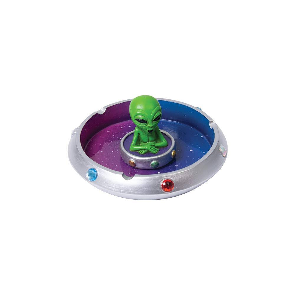 Fujima Alien in Flying Saucer Polyresin Ashtray - 6""