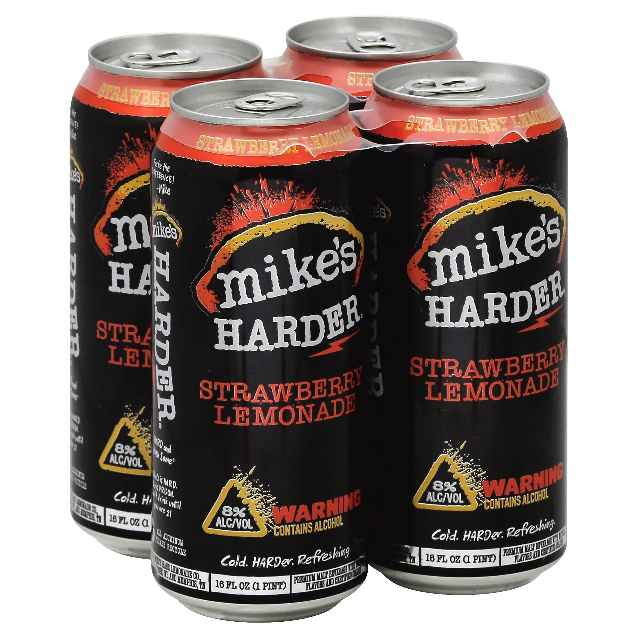Mikes Harder Malt Beverage, Premium, Strawberry Lemonade - 4 pack, 16 fl oz cans